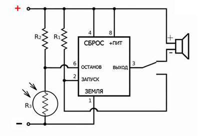 схема лазерной сигнализации для дома и дачи